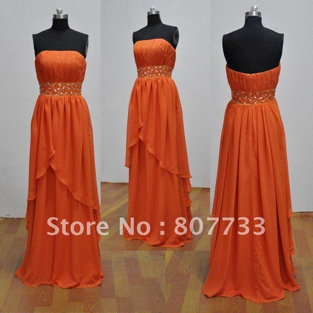 8de46931c77c Free shipping cost Real sample 2012 new design beaded strapless orange evening  dresses