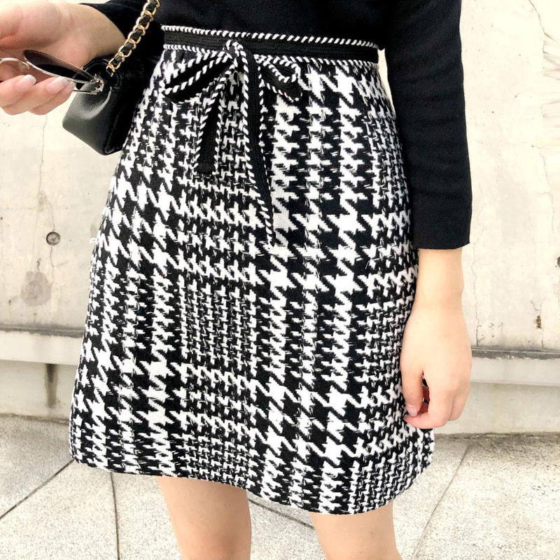 HEE GRAND A-line Plaid Skirts 2018 Autumn Women Vintage Bow tie Skirt High Waist Elegant Work wear Mini Skirt Saia WQB1037 a-line