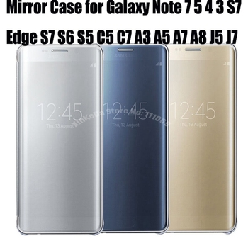 10pcs S7 Edge Clear View Mirror Flip Cover Case Fundas for Samsung Galaxy Note 7 5 4 S7 S6 S5 C5 C7 J5 J7 A3 A5 A7 A8 oque Capa