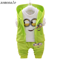 2017 Boys Girls Baby 1 4 Yellow 3piece Suit For Boys Clothes Despicable Me 2 Minion