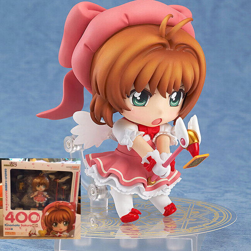 10cm Nendoroid Card Captor Cardcaptor Sakura 400 Boxed PVC Action Figure Set Model Collection Toy Gift nendoroid card captor sakura li syaoran 763 kinomoto sakura 400 pvc action figure collectible model toy doll