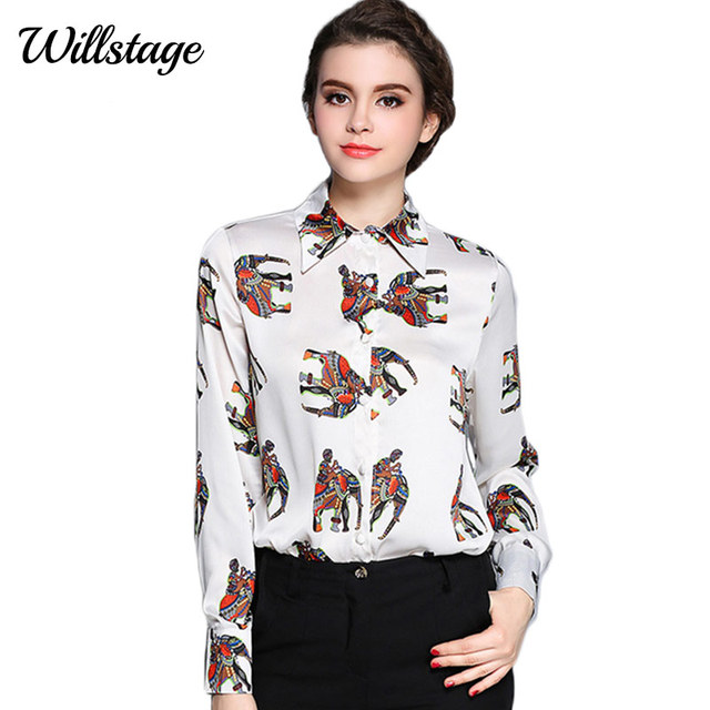0f82a84ecf495e Willstage Women Blouses Elephant Print Shirt Long Sleeve Colorful Tops  Office Ladies Shirts 2019 Spring Autumn High Quality top
