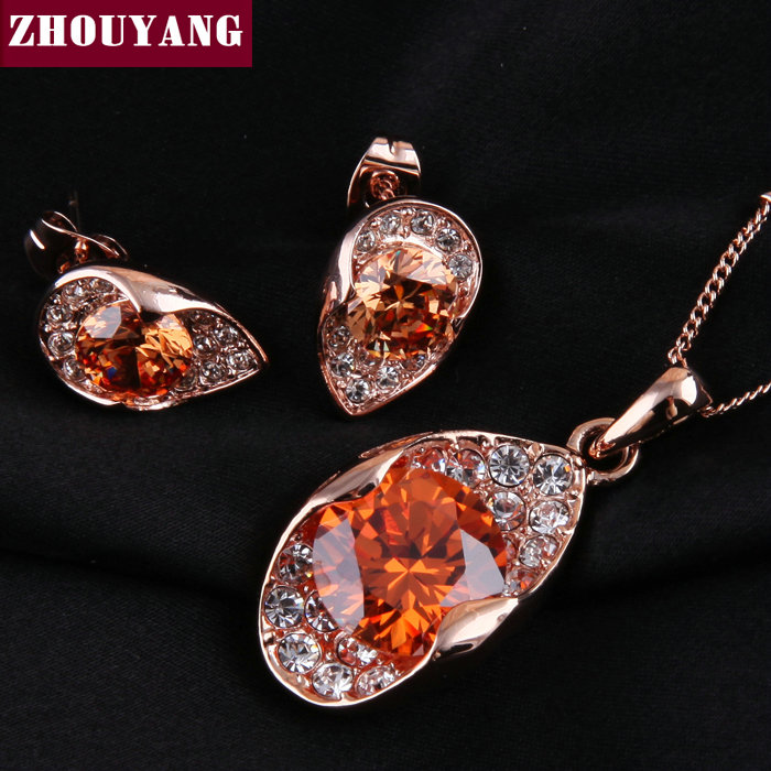 ZYS026 Orange Crystal Rose Gold Color Noble Eaegance Jewelry Necklace Earring Set Made with Austrian SWA Element Crystals rose gold color shell round simulated pearl element rhinestones micro setting luxury lady jewelry set necklace earring wholesale