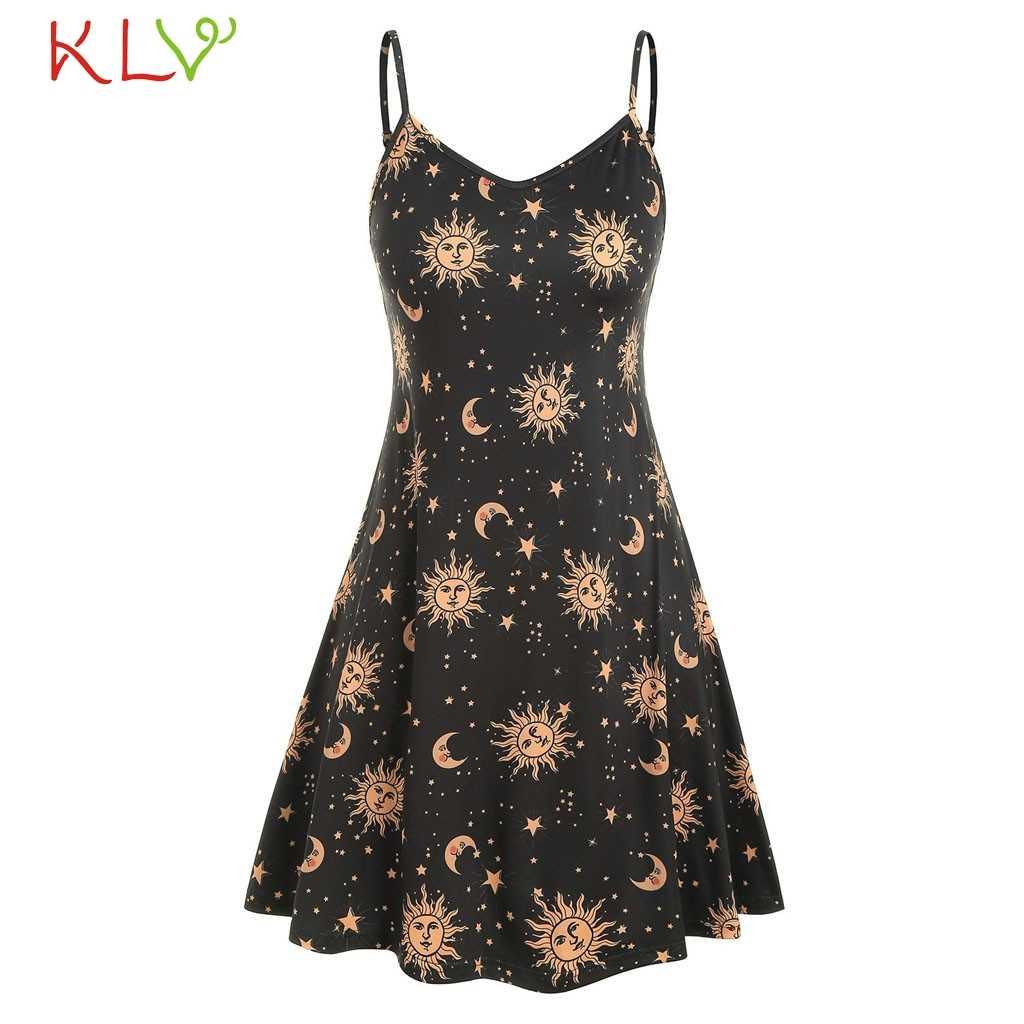 Женское элегантное винтажное платье с принтом Луны и солнца, сексуальное повседневное летнее платье, вечерние платья 2019, большие размеры, vestidos robe Femme 19May30