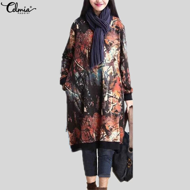 2018 Celmia Women Autumn Long Sleeve Print Vintage Dress Winter Velvet Pockets Casual Loose Midi Dresses Oversized Plus Size 5XL 2