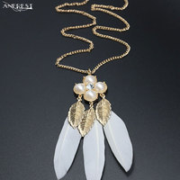 Vintage Design Leaf Feather Statement Necklaces Women Fashion Costume Jewelry Accessories Costume Jewellery For Party C21152