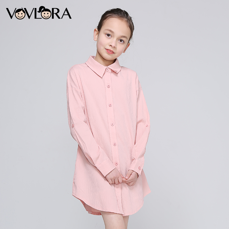 Girls Blouse Dress Long Sleeve Spring Print Letter Kids Blouses Cotton Button Clothes Casual 2018 Size 9 10 11 12 13 14 Years button up frilled puff sleeve blouse