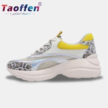 цены на Taoffen Leopard Women Running Shoes Genuine Leather Lace Up Print Sneakers Daily Comfortable Casual Shoes Women Size 34-40  в интернет-магазинах