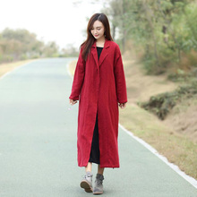 Trench Coat for Women Red Black Color Cotton linen Casual Wo