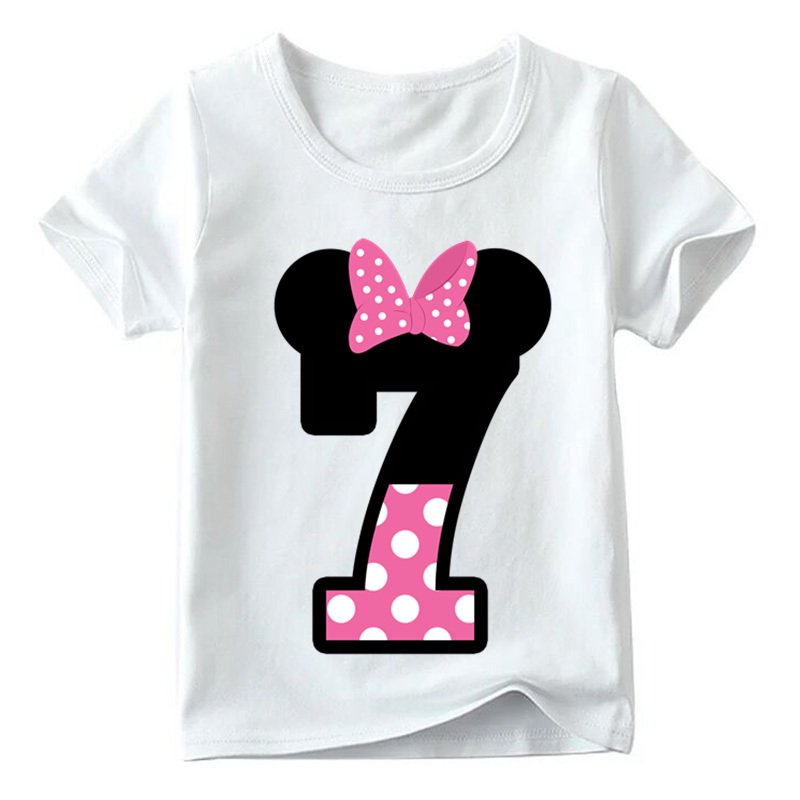 Baby Boys/Girls Happy Birthday Letter Bow Cute Print Clothes Children Funny T shirt,Kids Number 1-9 Birthday Present,HKP2416 13