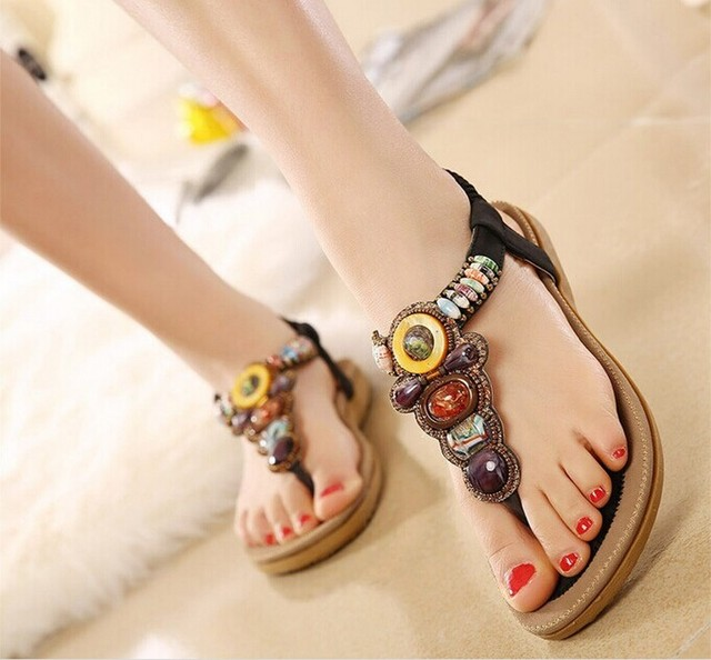 b16a3dffd38aed 2016 Summer Flat Sandals Ladies Bohemia Beach Flip Flops Shoes Gladiator Women  Shoes Sandles platform Zapatos