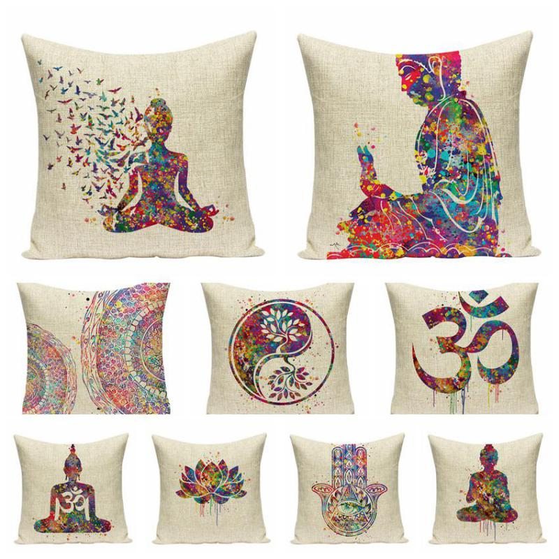 Southeast Asia Buddha Cushion Zen Meditation Buddha Statue Watercolor Musical Instruments Skull Pattern Creative Sofa Pillows