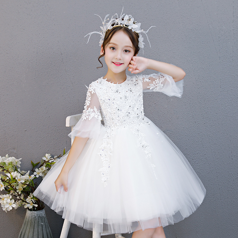 2018Summer Autumn Children Baby White Color Birthday Wedding Party Princess Lace Dress Kids Toddler Christmas Pageant Tutu Dress 2017 new high quality girls children white color princess dress kids baby birthday wedding party lace dress with bow knot design