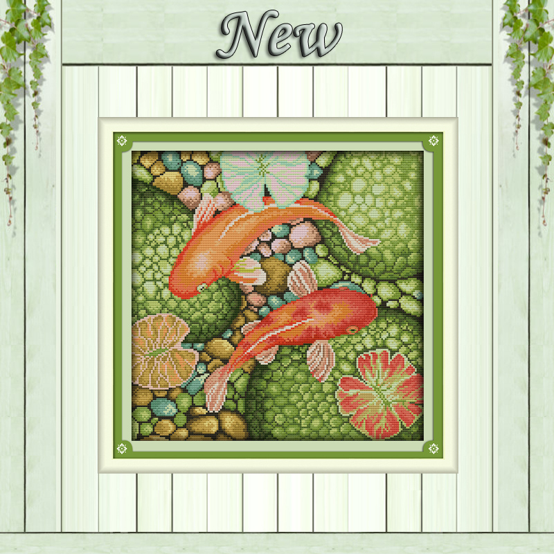 The red carp animal beautiful fish painting Counted print on canvas DMC 14CT 11CT DMC Cr ...