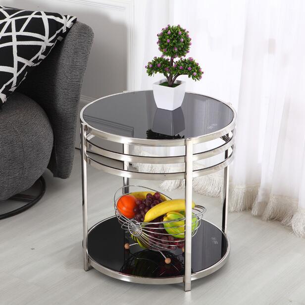US $450.25 14% di SCONTO|In acciaio inox tavolino tavolino piccolo doppio  piccolo rotondo di vetro tavolino un paio di supporto del telefono-in ...