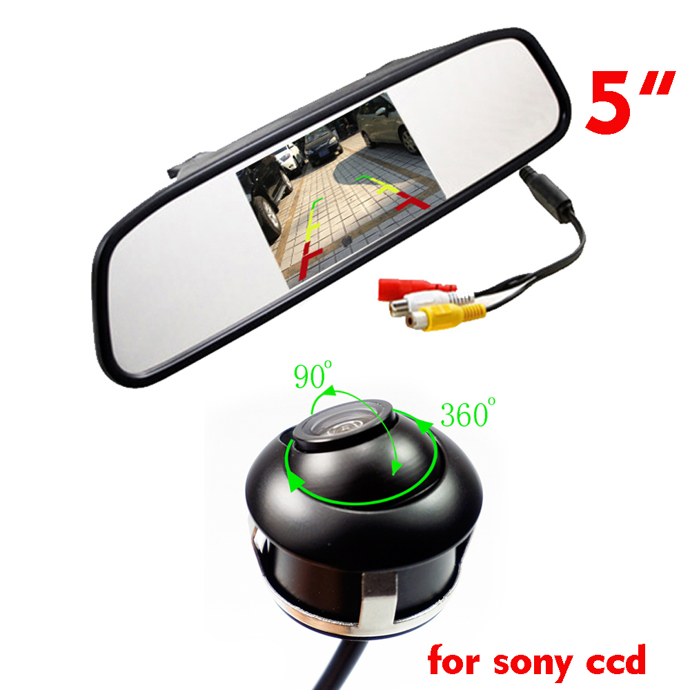 for sony CCD HD 360 degree Car camera with parking LCD monitor 4.3 inch 5inch mirror monitor front/side/rear view monitor 2way
