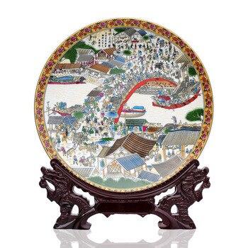 Jingdezhen ceramics pastel riverside decorative plate hanging plate Home Furnishing classical decor decoration