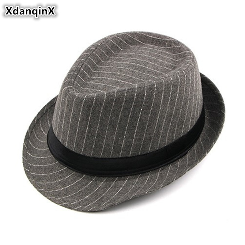 XdanqinX 2019 Autumn Winter New British Fashion Men's Fedoras Noble Jazz Hat European American Style Casual Wild Striped Dad Cap