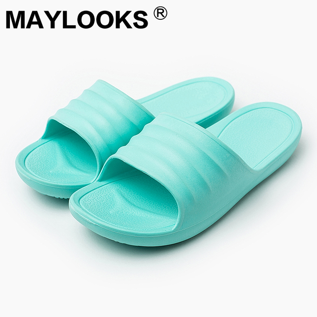 ba0a9160a 2018 New Basic Women s EVA Slippers Indoor Home Non-slip Massage Couples  Ladies Bathroom Jelly Shoes Beach Wholesale M-8842