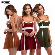 PGSD Spring Simple fashion Women Clothes Colour-matched knitted Strapless Sleeveless Sexy Sling short Mini stripe Dress female