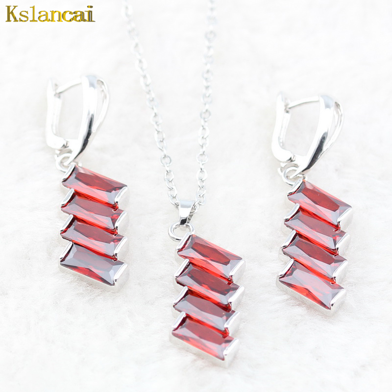 LAN 925 Sterling Sliver Choker Red Crystal AAA Cubic Zirconia For Necklace&Pendant /Earrings Trinket For Women Jewelry Sets