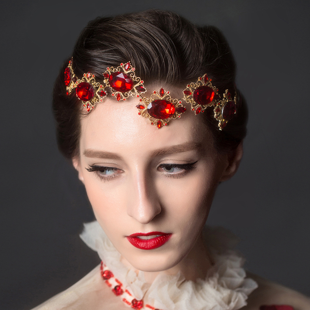 Red Rhinestone Wedding Tiara Crown Fashion Women Headpiece Accessories Gold  Pleated Crystal Bridal Headbands 78017 d97f4dca816