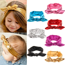 2016 Top Quality High Recommend Baby Girl Kids Gilding Stretch Rabbit Ear Hair Bow Turban Knot Headband Hairband 5BYL 7FQG 7NFD