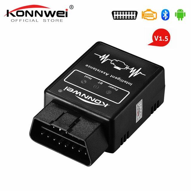 Best Offers Elm327 Bluetooth OBD2 V1.5 Elm 327 v1.5 OBD 2 Car Diagnostic tool KONNWEI OBD2 Scanner EML327 Pic18f25k80 Auto Diagnostic Tool