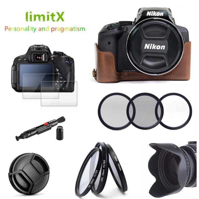 Etui en cuir 9 en 1 + filtre + pare soleil + stylo de nettoyage + protecteur de verre pour appareil photo numérique Nikon CoolPix P900 P900s