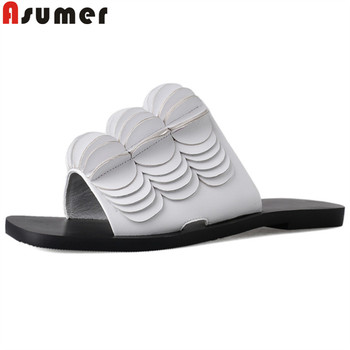 ASUMER 2019 summer new shoes women Casual slippers women comfortable genuine leather shoes women summer new sandals women