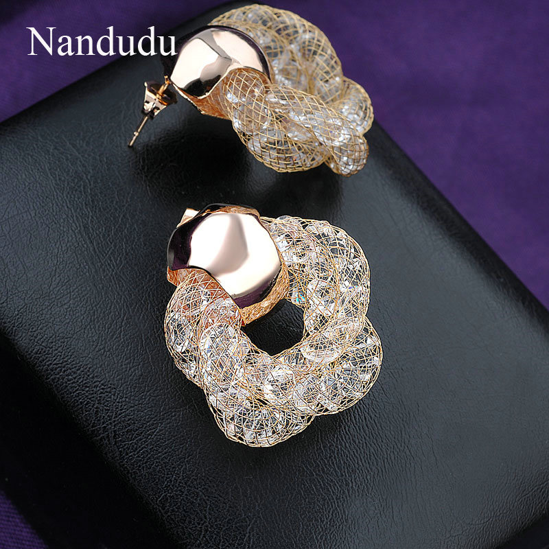 earrings nandudu from female item crystal unusual in on accessories mesh gift popular stud fashion stardust jewelry earring white