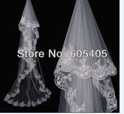 wholesale/retail lace edge long wedding veil/bridal veil/bridal accessories/head veil Best price 2.8 meters