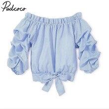 edefcba71 Pudcoco niño bebé niñas rayas volantes fuera del hombro de manga larga  Camiseta Tops moda niños ropa trajes 3- 11 T