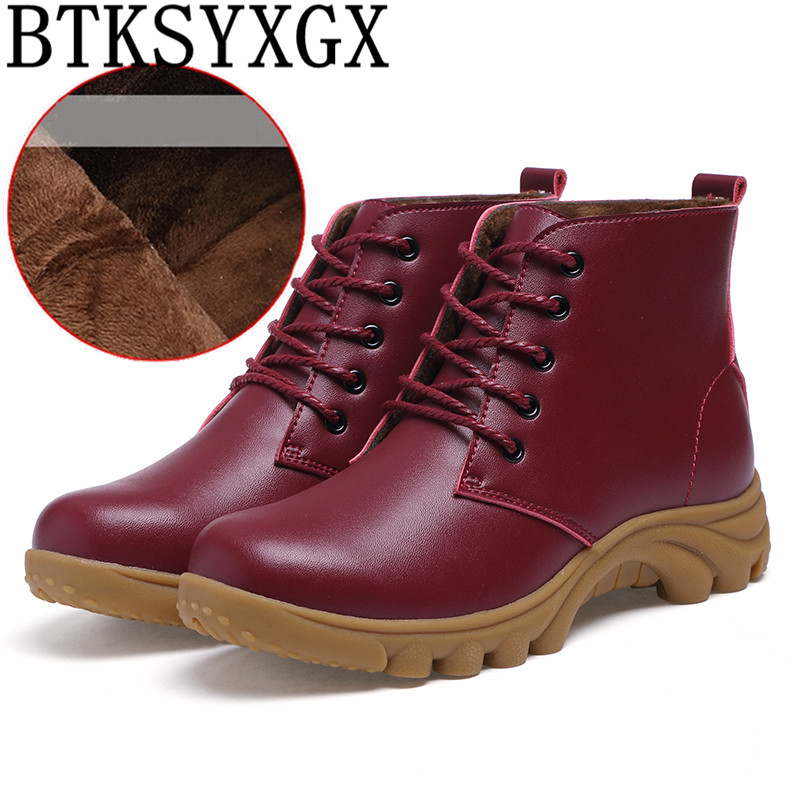 BTKSYXGS 2017 Women's snow boots Ladies 100% genuine leather fashion Woman Martin boots Women winter flats Cotton shoes Female 2015 winter new style women boots ladies lovely fashion snow shoes female handmade rhinestone genuine leather snow boots