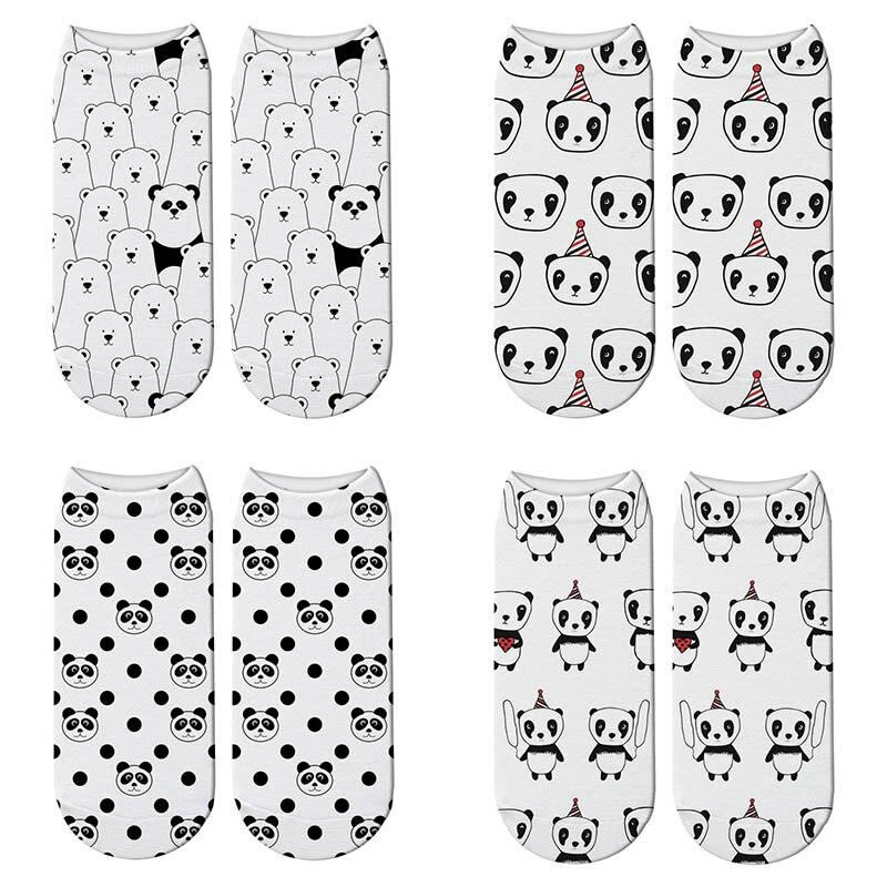 Cute Panda 3D Printed Short Cotton Socks for Women Animal Panda Bear Socks Spring Summer Kawaii Funny Ankle Socks Unisex