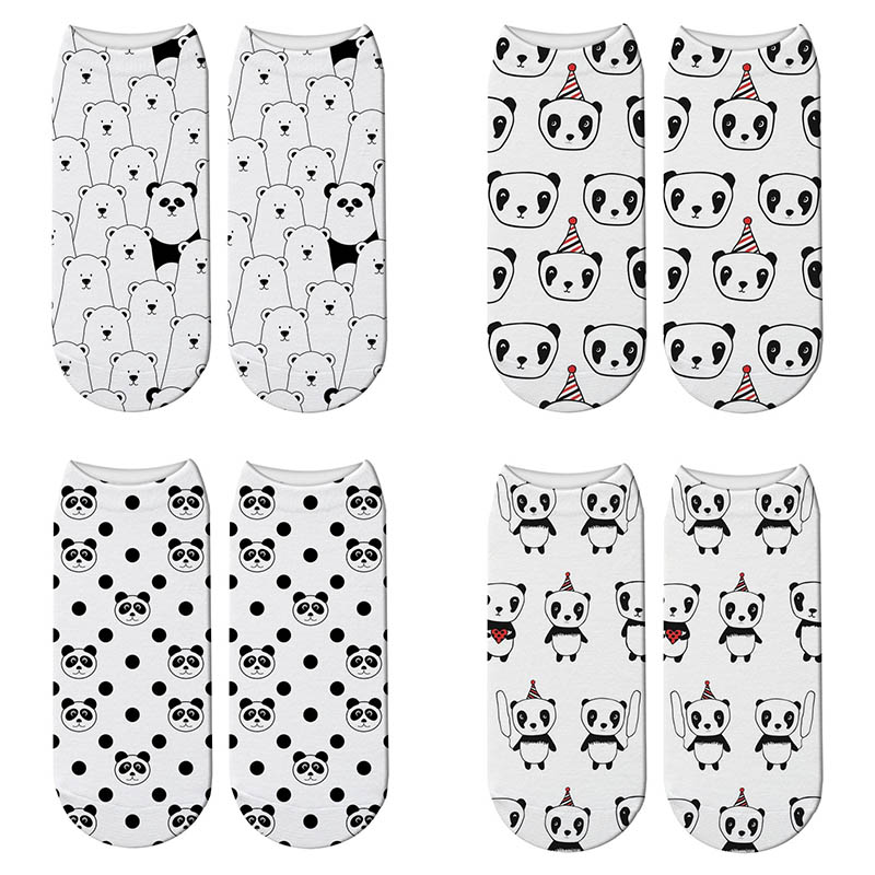 Cute Panda 3D Printed Short Cotton   Socks   for Women Animal Panda Bear   Socks   Spring Summer Kawaii Funny Ankle   Socks   Unisex