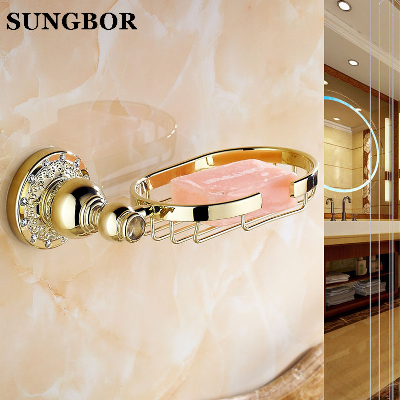 Luxury Plating Copper Bathroom Soap Rack Antique Gold Polished Carving Wall Mounted Soap Net Soap Holder Bathroom Accessories цена