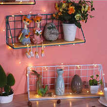 Storage Holders Iron Art Wood Wall Hanging Shelf Racks Sundries Basket For Bathroom Livingroom Plant Toys Organizer Home Decor(China)