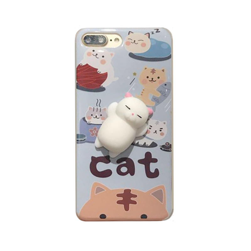 2017 Fashion 3d cartoon animals rubber vent relax toys joy doll pinch book sleep lazy cat sock tpu cell phones case For Iphone