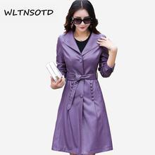 2018 autumn winter new women lapel leather long jacket Windbreaker Female Bow Sashes Slim Solid pu coats