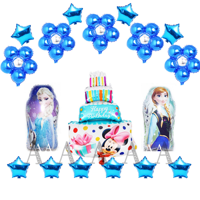 18pcs Lot Anna Elsa Princess Foil Balloons Set Including Cake Flower Air For Girl Birthday Ballons Party Ballon