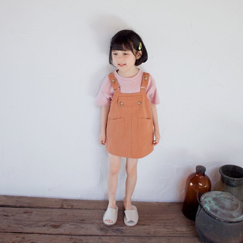 Summer Baby Girls Dress Girls Cotton Dresses Overalls Suspender Bib Dress with Pocket Toddler Kids Clothing Bebe Clothes Casual