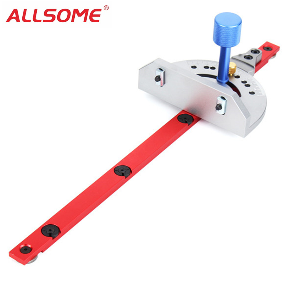 ALLSOME Red Miter Gauge Table Saw Router Miter Gauge Sawing Assembly Ruler Woodworking Tool for Bandsaw HT1697 high quality table saw router miter gauge sawing assembly ruler woodworking diy tools