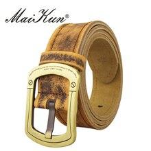 Western Cowboy Leather Unisex Belts for Women Pin Buckle Brown Genuine Steel Cowskin Men Fashion Designer Male Strap