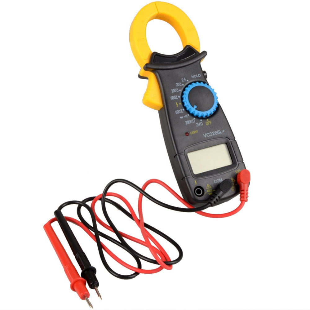 Black AC Digital Clamp DT3266L LCD Display Digital Multimeter Digital Clamp Meter Probe Without Battery auto range clamp style digital multimeter with strap dt3266l