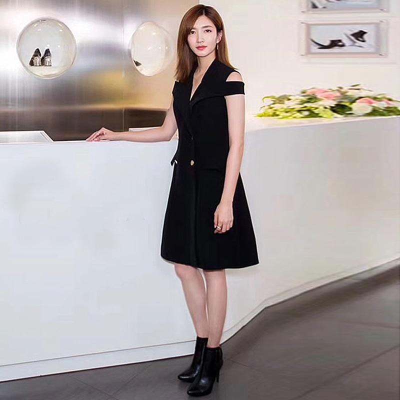 Vintage Women V Neck Shoulderless Buttons Slit Slim Black Dress