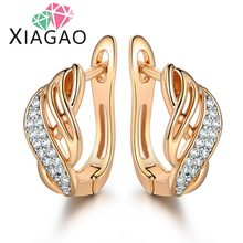 Gold-color Charm Austrian Crystal Hoop Earrings Shiny Rhinestone Delicate Earring Jewelry Infinity Hot Sale