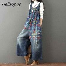 Helisopus Vintage Flower Printed Holes Ripped Jean Jumpsuit Plus Size Wide Legs Bib Overalls For Women Drop Crotch Denim Rompers