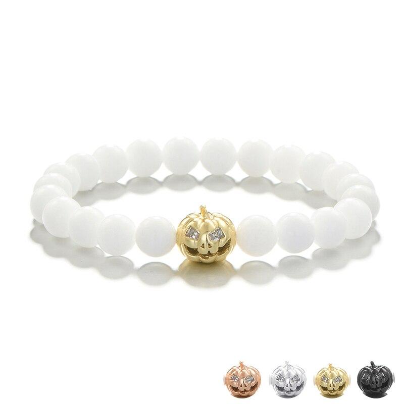 Pumpkin With Grimace Rivet White Beads Mens Bracelets Hand Chain Jewelry Elastic Strand Bracelet Women Men Accessories