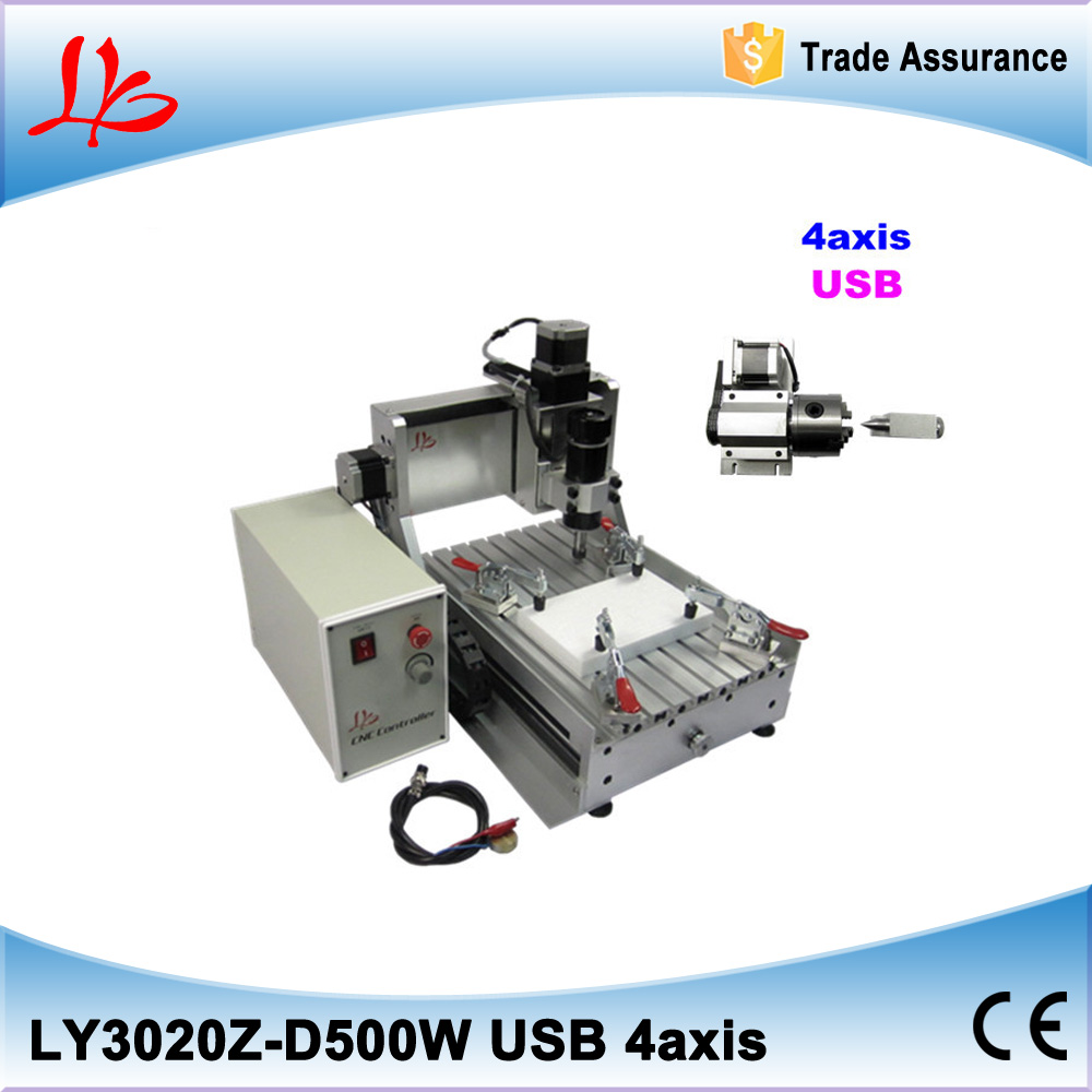 4 AXIS 500W CNC Router 3020 USB Port Engraver Engraving Machine Carving 3D CUTTER 500w mini cnc router usb port 4 axis cnc engraving machine with ball screw for wood metal
